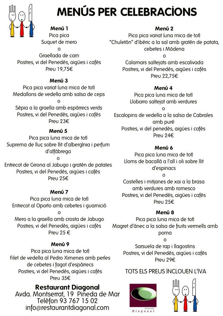 menus per celebracions